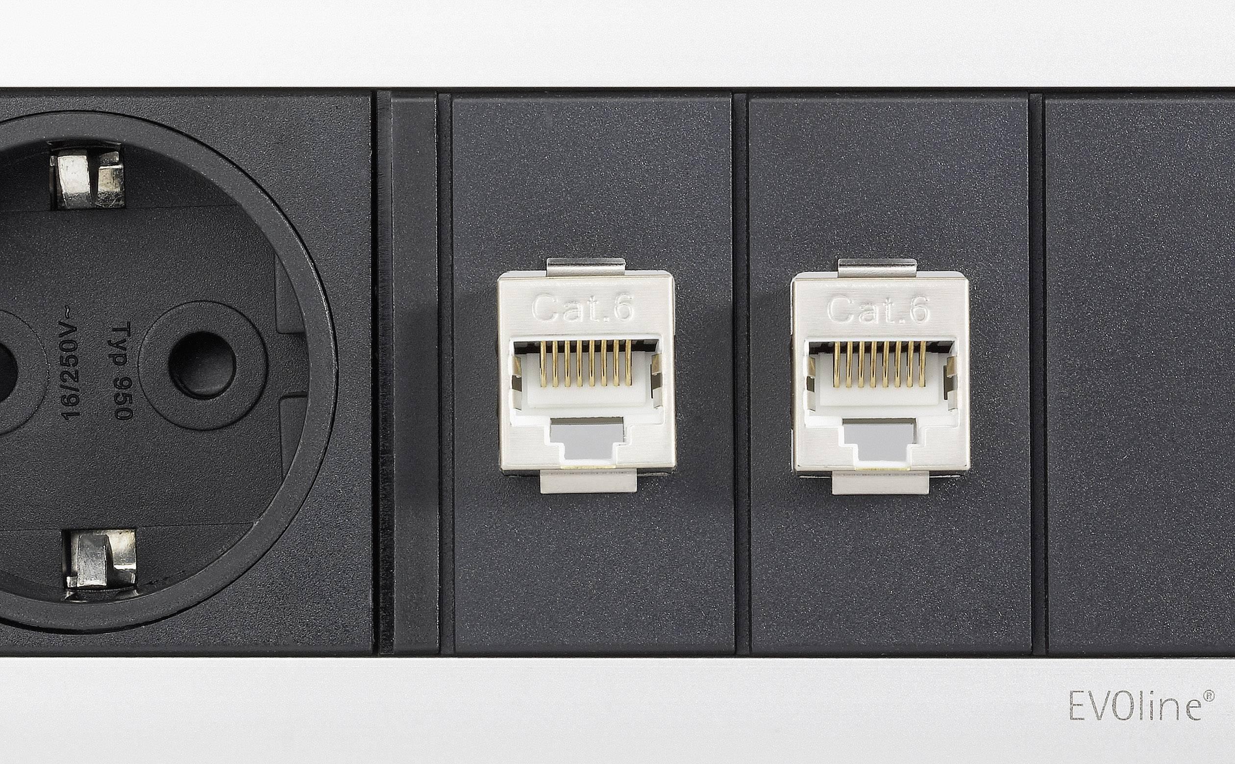 Vstavaná zásuvková lišta Schulte Elektrotechnik, 3 zásuvky, 2x RJ45