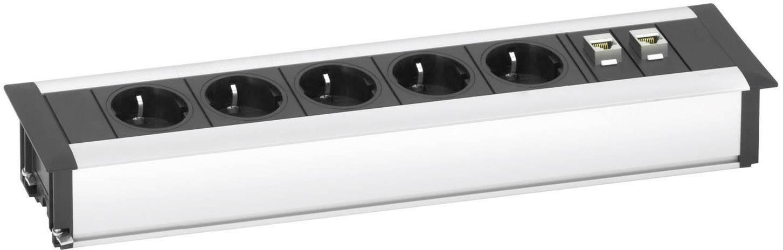 Vstavaná zásuvková lišta Schulte Elektrotechnik Data Dock Small, 5 zásuviek, strieborná/čierna