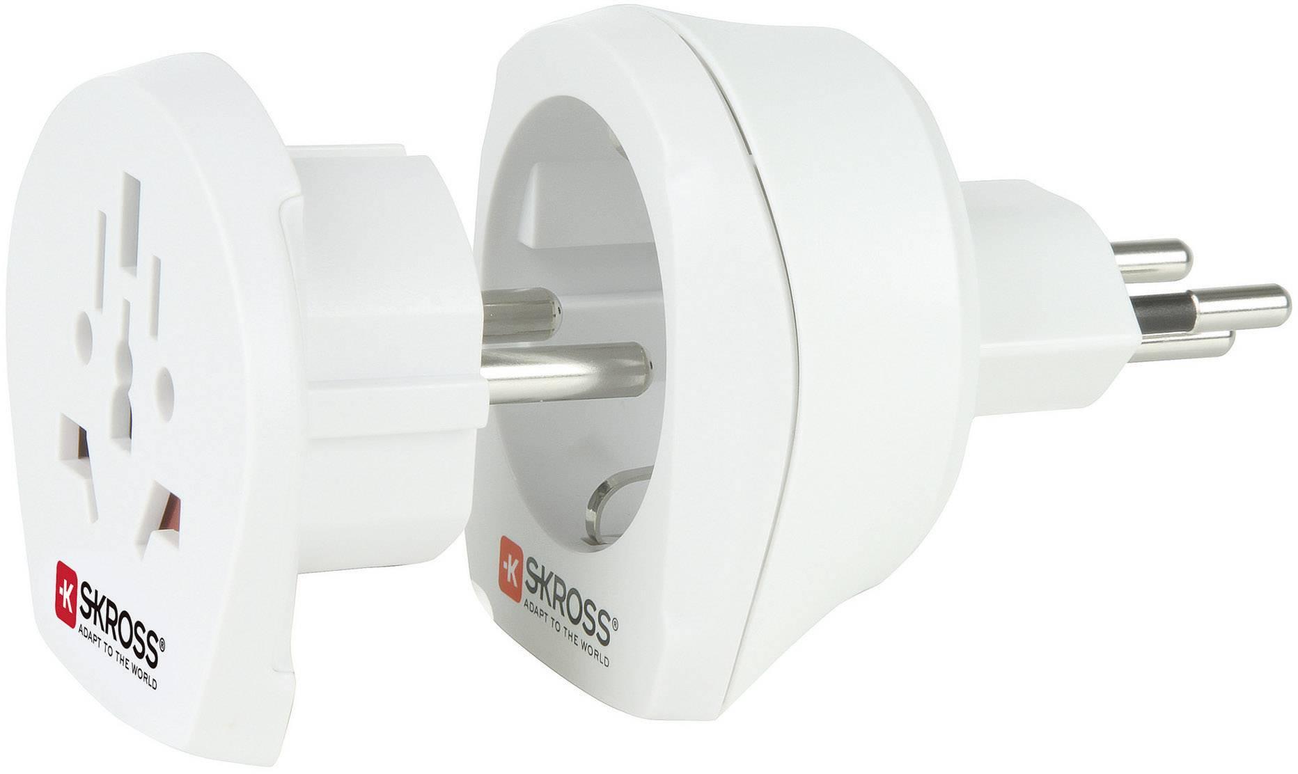 Cestovní adaptér Skross, 1.500206, Švýcarsko, bílá