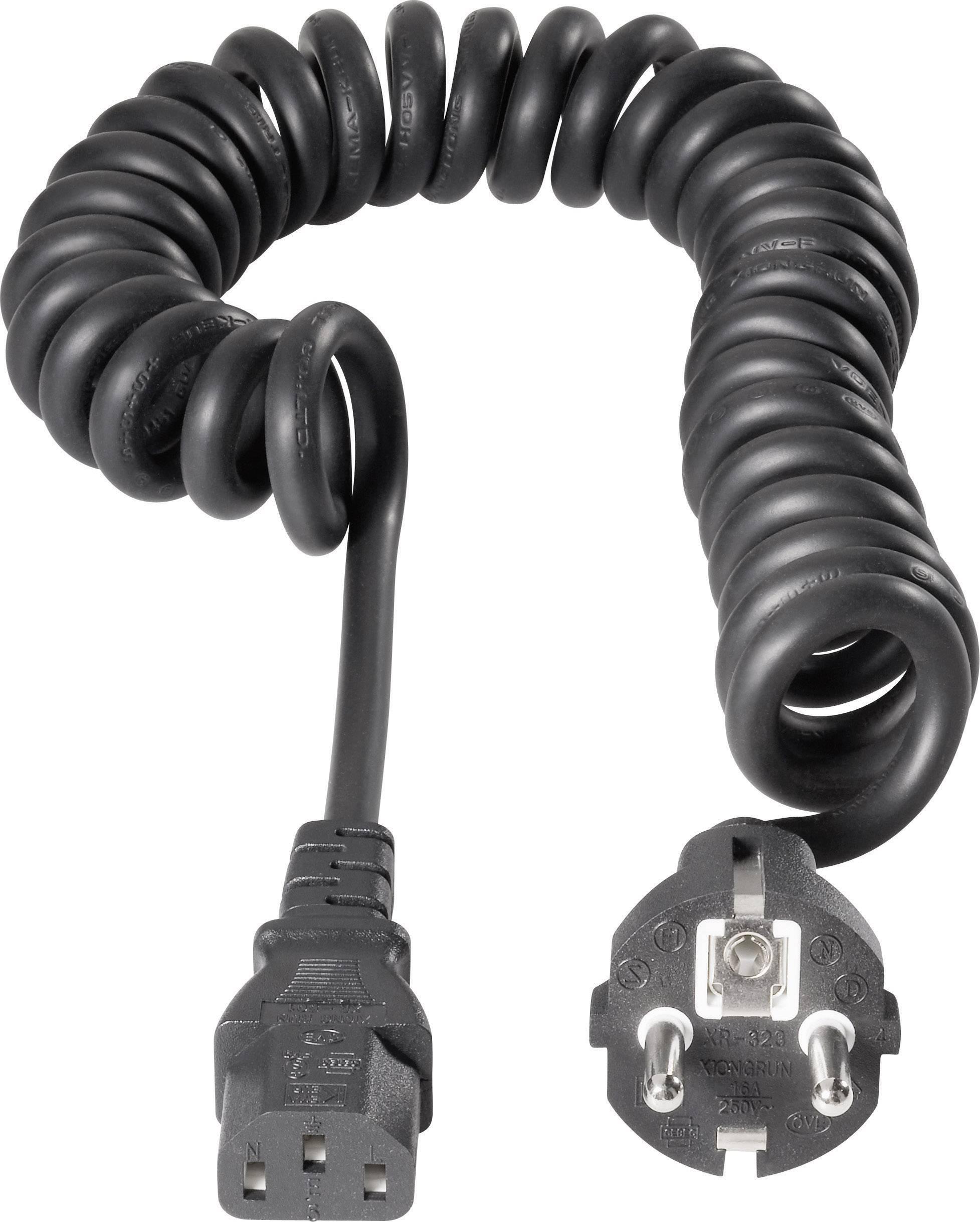 Špirálový sieťový kábel s IEC zásuvkou 552444, 2.50 m, čierna