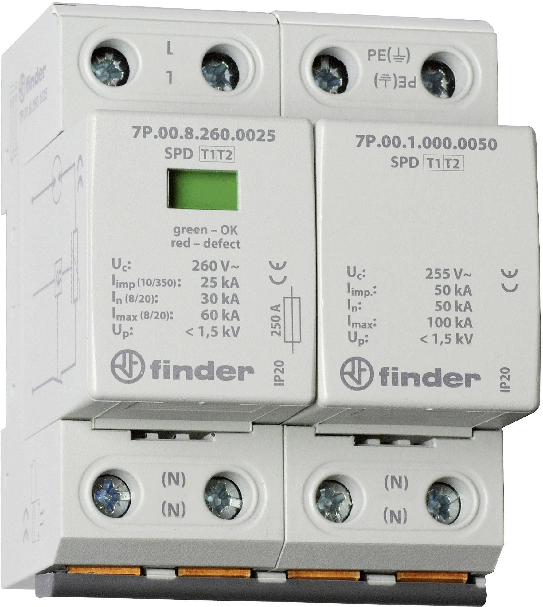 Zvodič pre prepäťovú ochranu Finder 7P0282601025 7P.02.8.260.1025, 30 kA