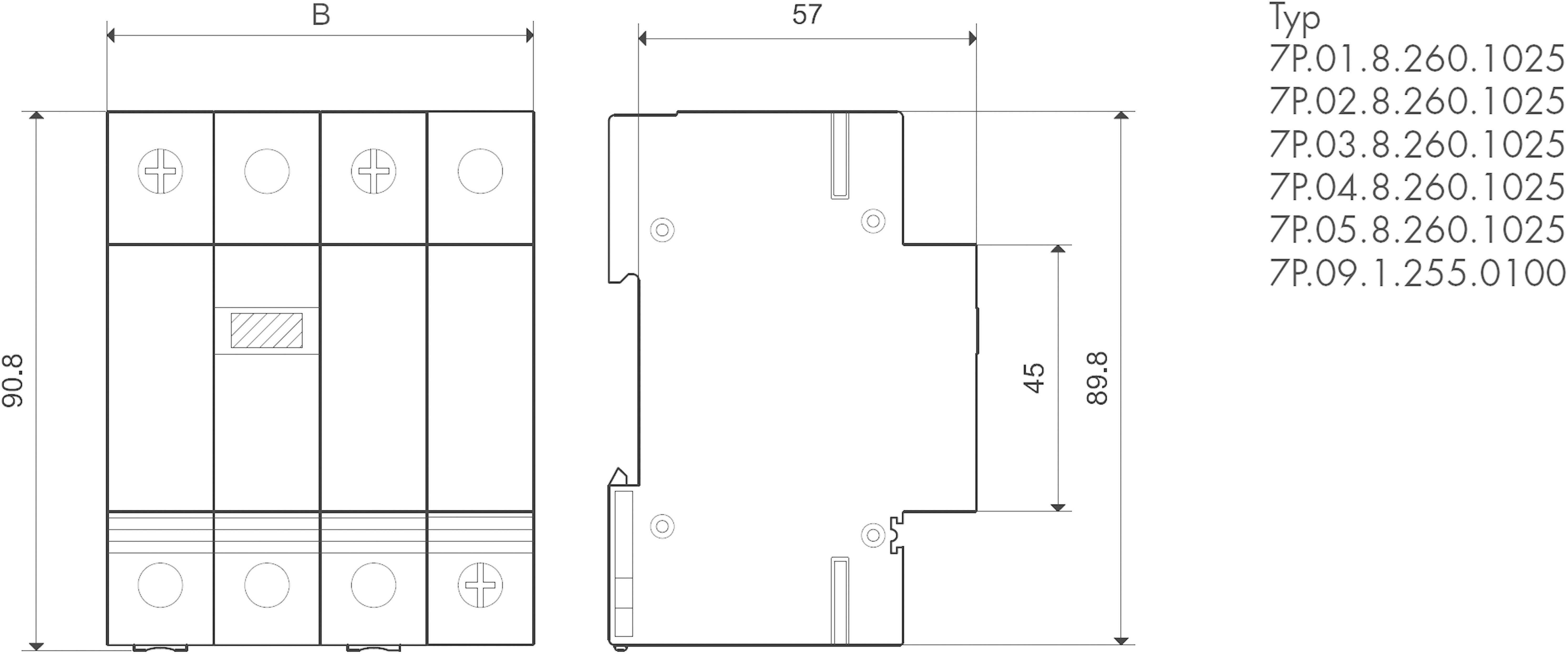 Přepěťová ochrana (svodič přepětí) Finder 7P.02.8.260.1025, typ 1/2, 1fázový, 1jiskřiště