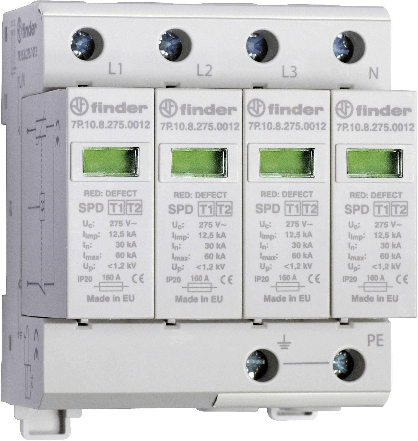 Zvodič pre prepäťovú ochranu Finder 7P1582751012 7P.15.8.275.1012, 30 kA