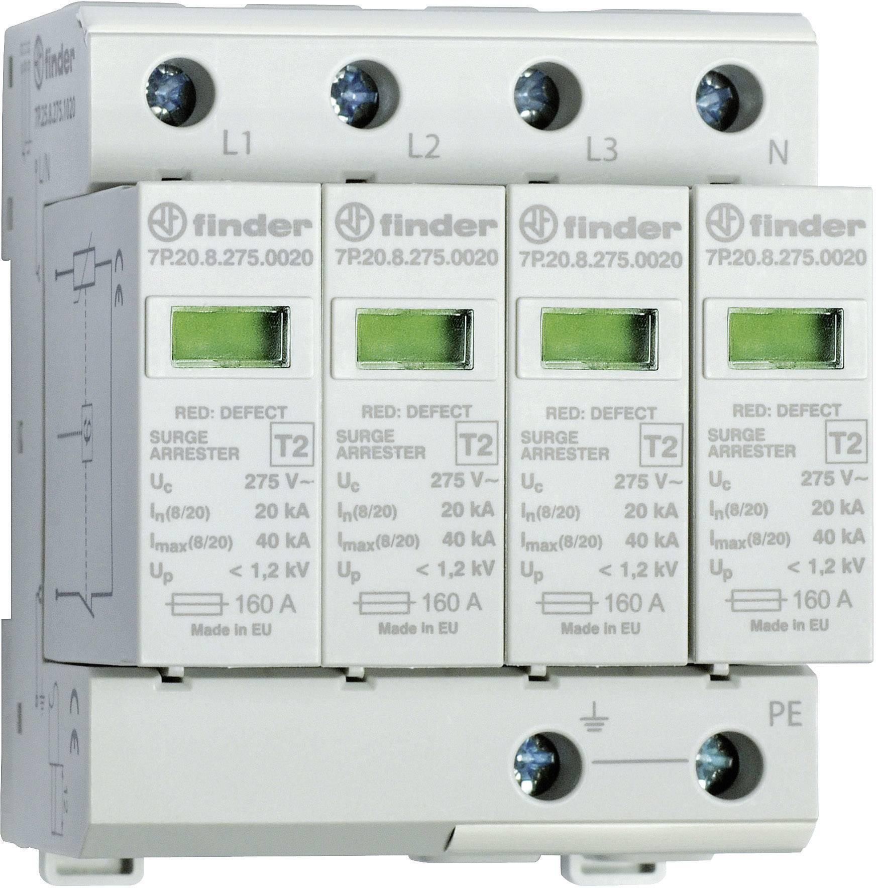 Zvodič pre prepäťovú ochranu Finder 7P2582751020 7P.25.8.275.1020, 20 kA