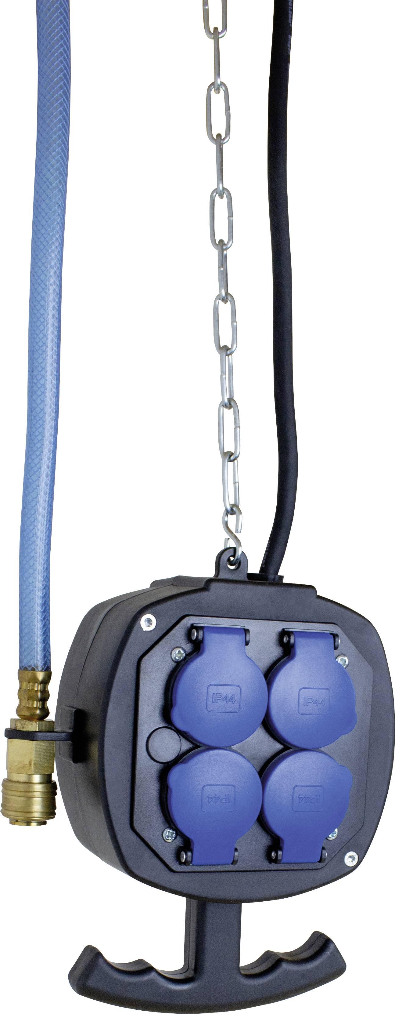 Závesný prúdový rozbočovač AS Schwabe ES2PA, 4 zásuvky, IP44, čierny, 3 m, 60974