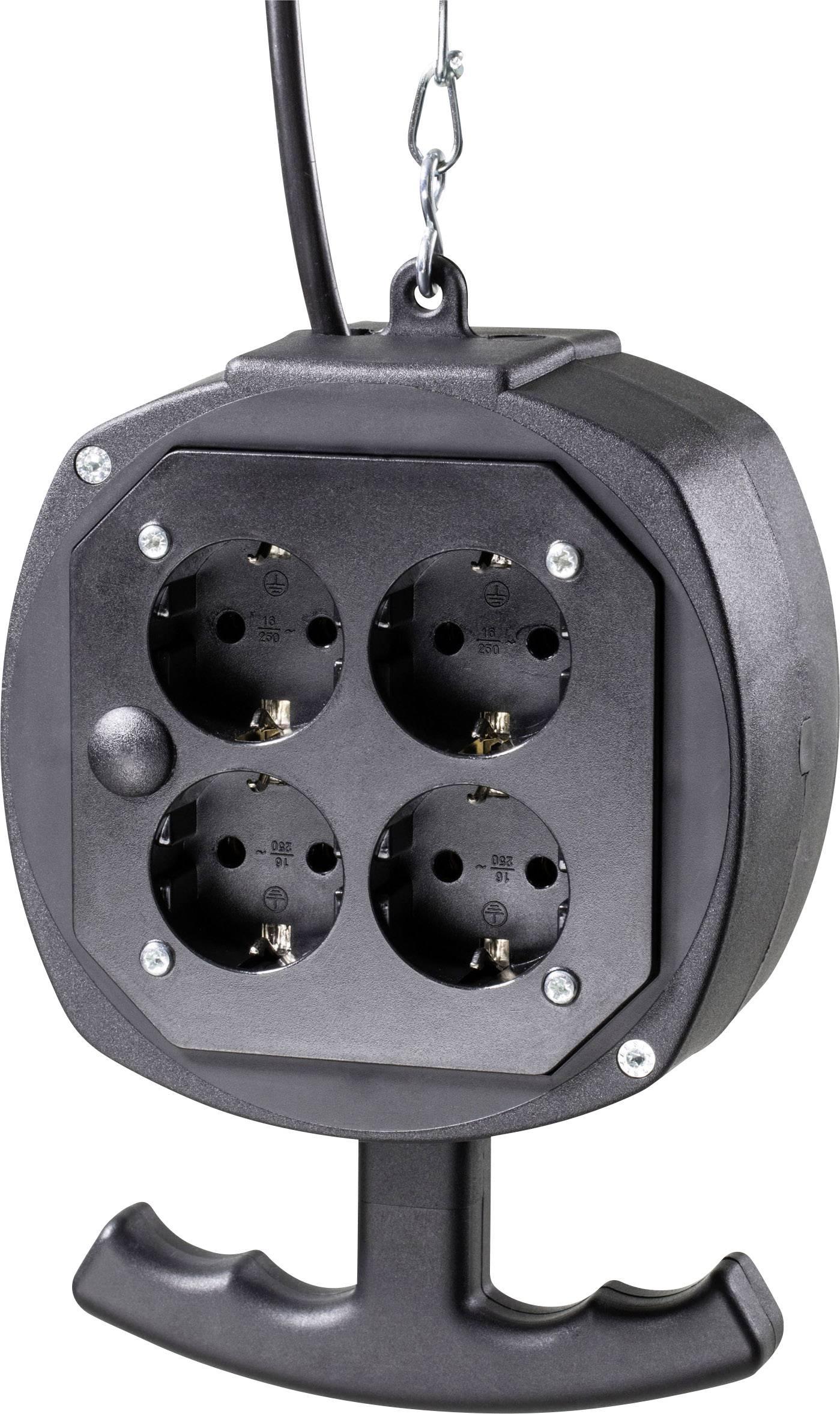 Závesný prúdový rozbočovač AS Schwabe ES1, 4 zásuvky, IP20, červený, 3 m, 60971