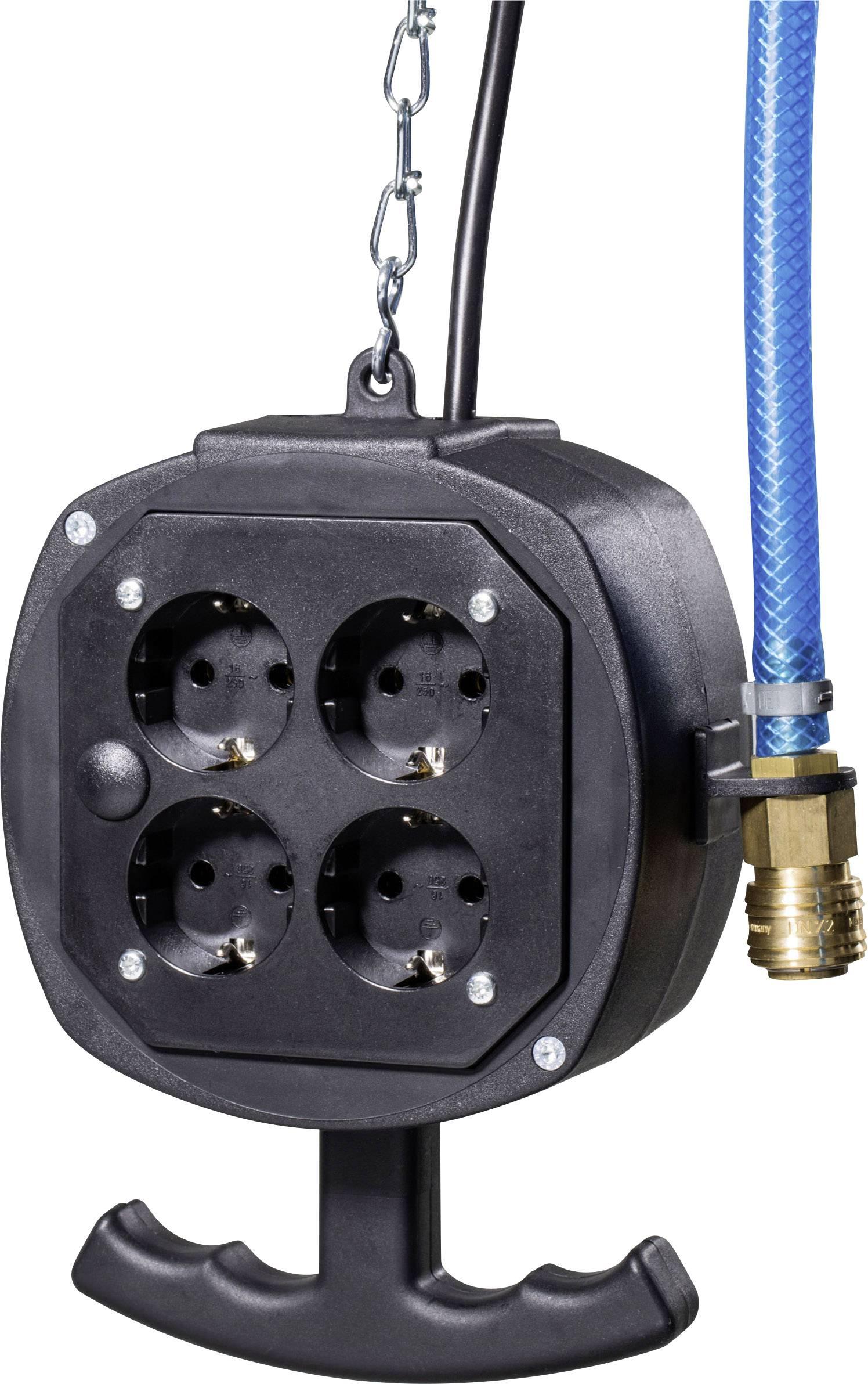 Závesný prúdový rozbočovač AS Schwabe ES1PA, 4 zásuvky, IP20, červený, 3 m, 60972