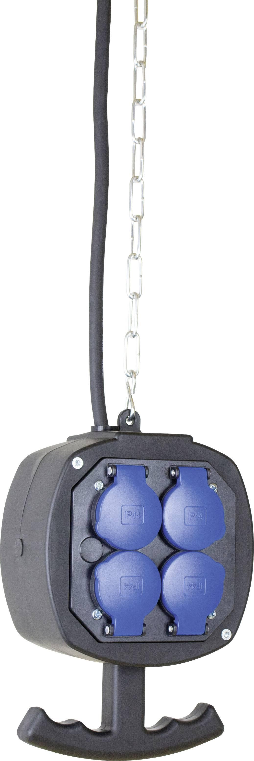 Závesný prúdový rozbočovač AS Schwabe ES2, 4 zásuvky, IP44, čierny, 3 m, 60973