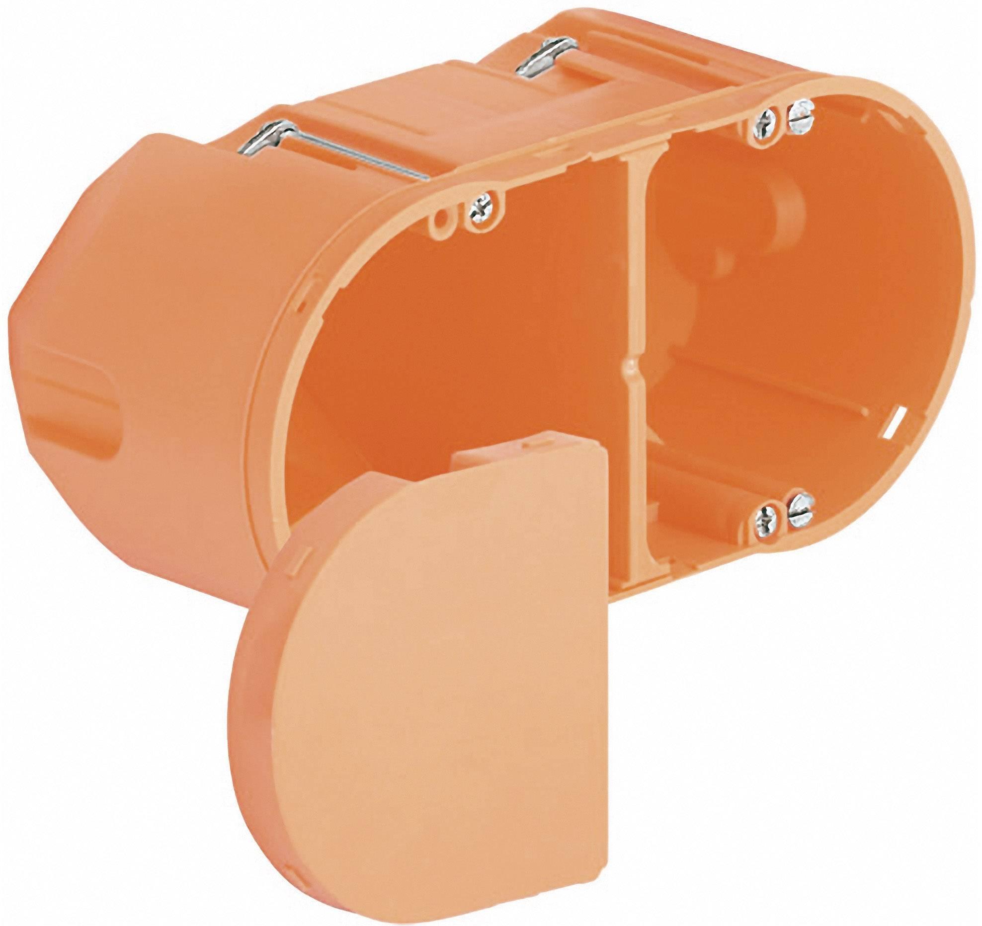 Inštalačná dvojkomorová krabica pre zásuvku do dutých stien Kaiser Elektro 9062-94, hĺbka 75 mm, oranžová