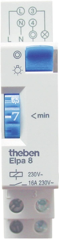 Schodiskový spínač na DIN lištu Theben Elpa8, analógový, 16 A, 230 V, 1 - 7 min, 80002