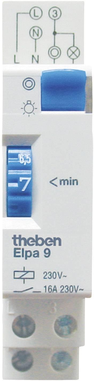 Schodiskový spínač na DIN lištu Theben Elpa9, analógový, 16 A, 230 V, 1 - 7 min, 90002
