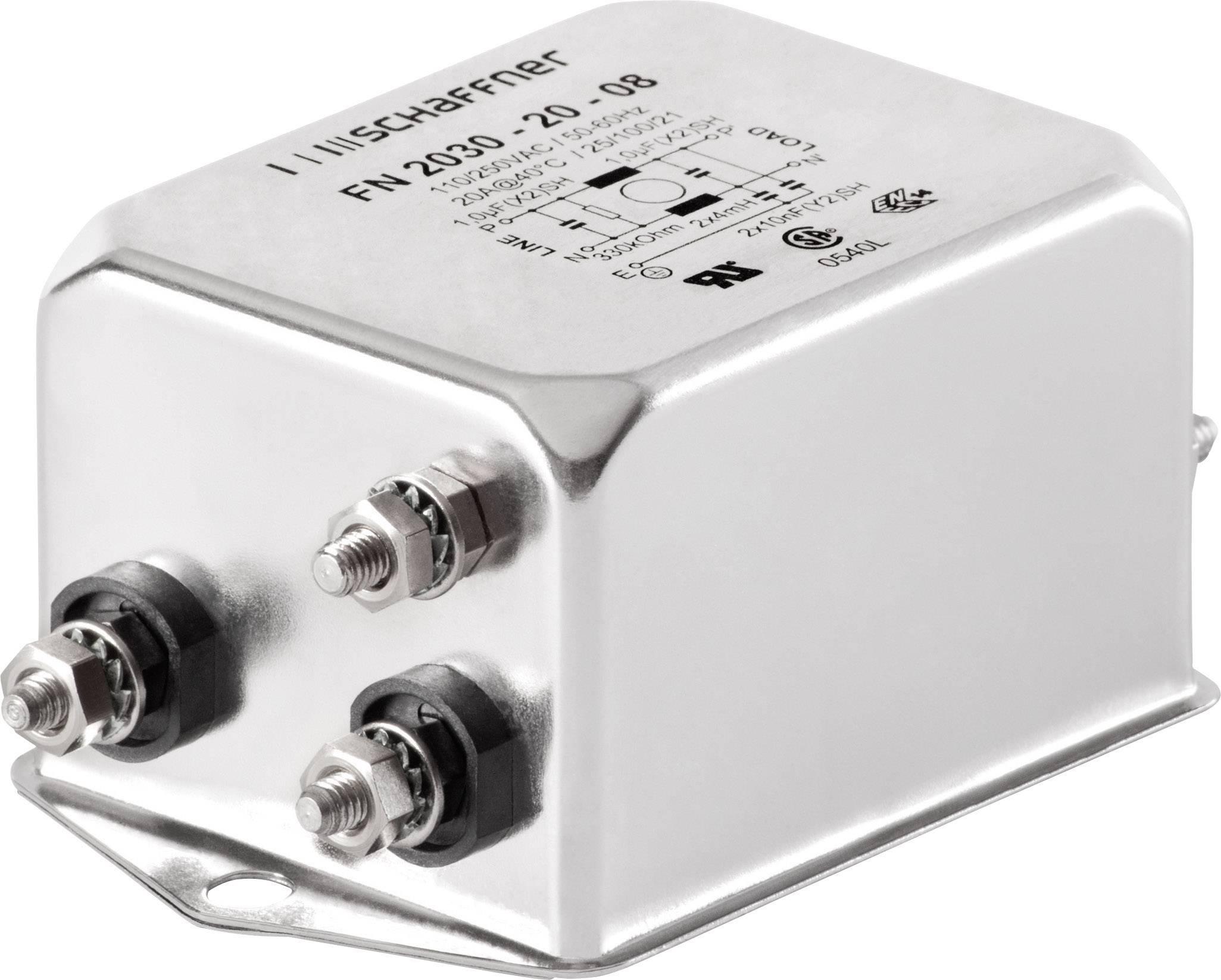 Odrušovací filter Schaffner FN2030-20-06 FN2030-20-06, 250 V/AC, 20 A, 4 mH, (d x š x v) 85 x 54 x 30.3 mm, 1 ks