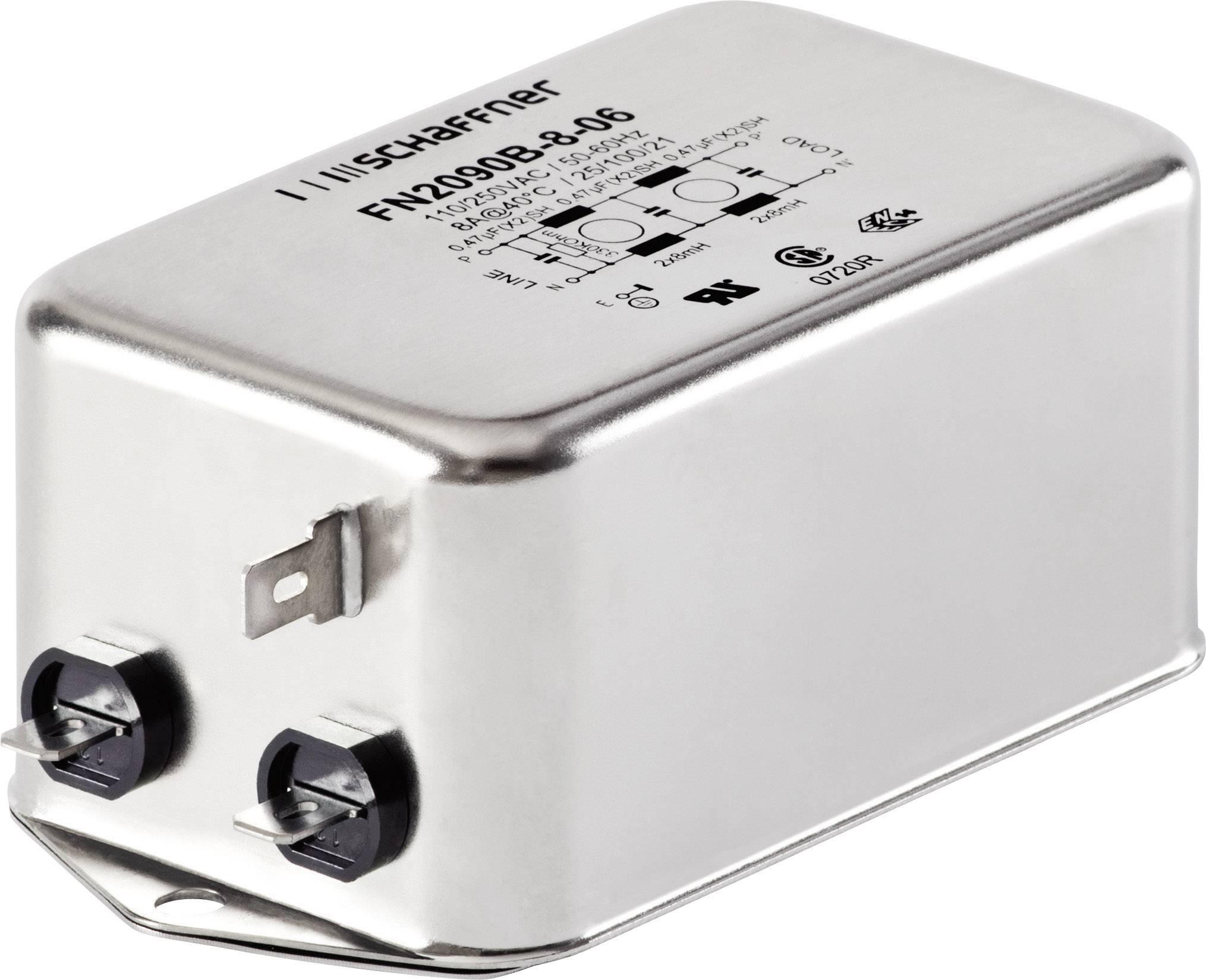 Jednofázový síťový filtr Schaffner, FN2090-6-06, 8 mH, 250 V/AC, 6 A
