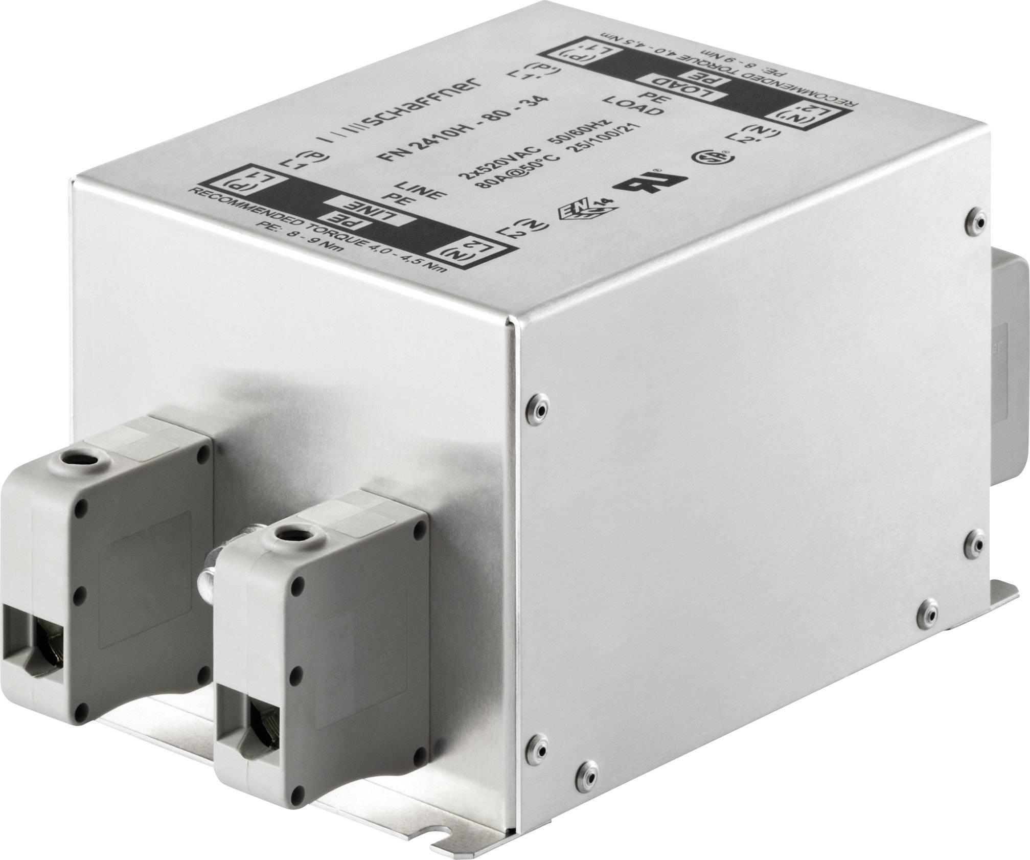 Odrušovací filter Schaffner FN2410-25-33 FN2410-25-33, 250 V/AC, 25 A, (d x š x v) 130 x 93 x 76 mm, 1 ks