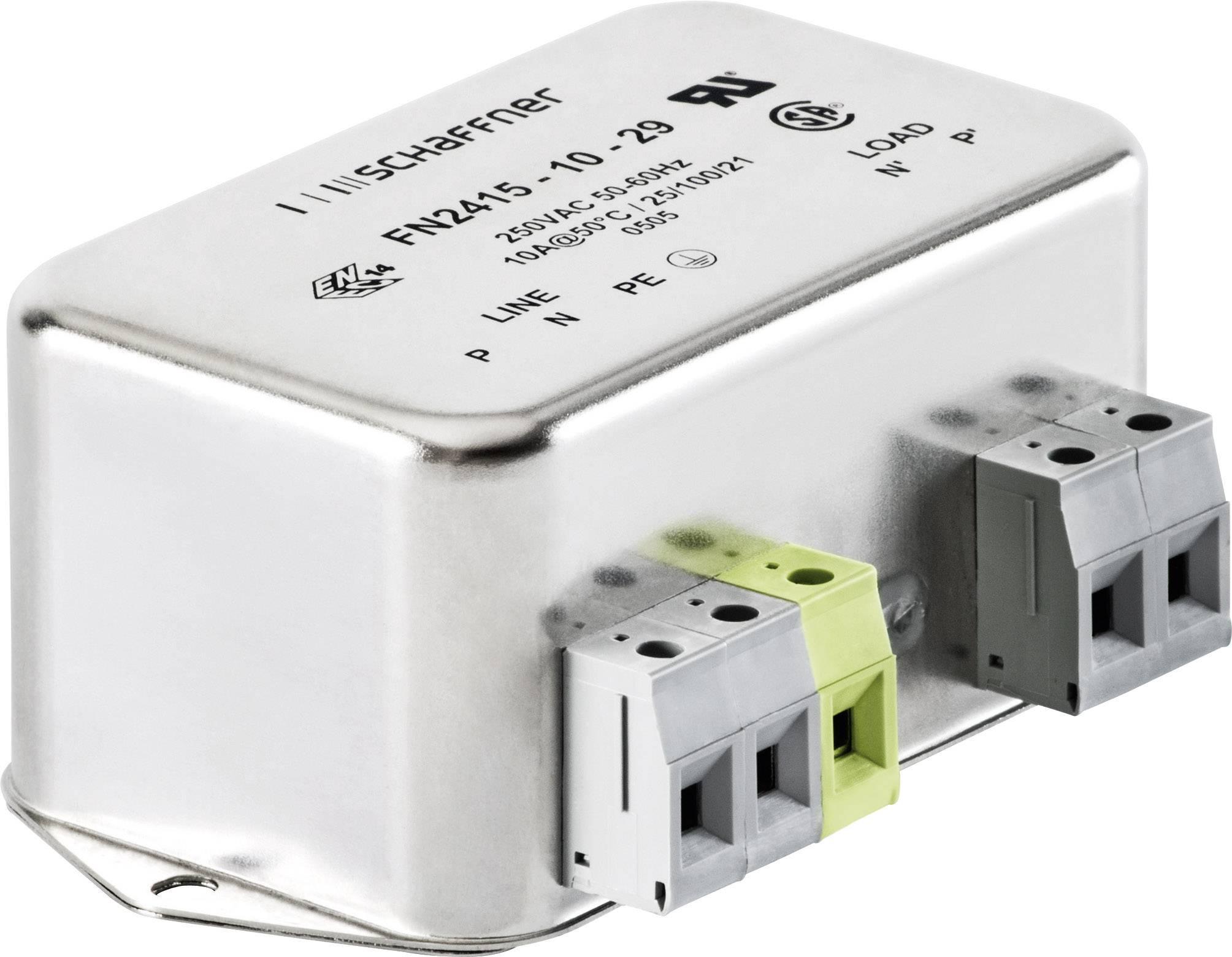 Odrušovací filter Schaffner FN2415-10-29 FN2415-10-29, 250 V/AC, 10 A, (d x š x v) 94 x 58 x 45.4 mm, 1 ks