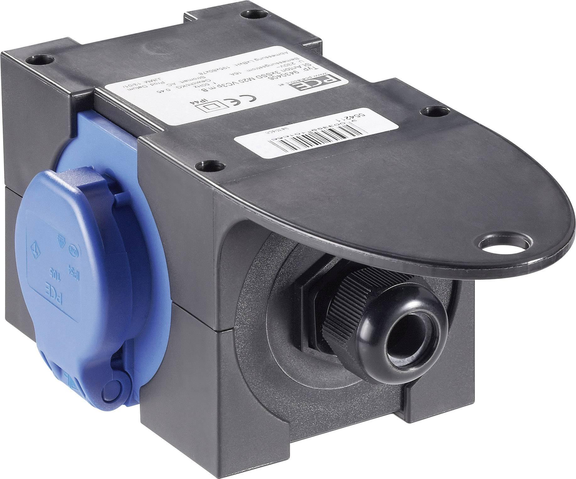 Prúdová rozbočka PCE 9430406, na kábel 10 - 14 mm (PG16), 3 zásuvky, IP44