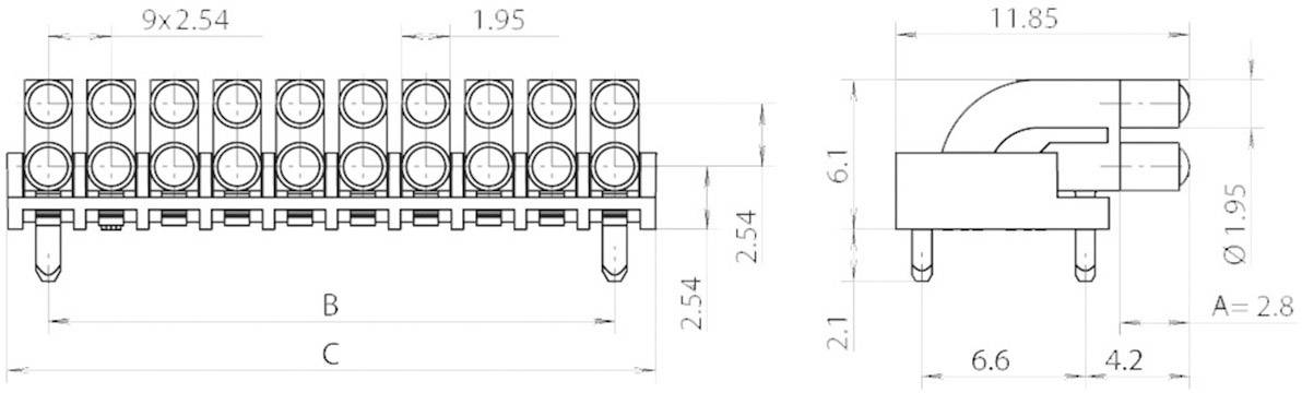 Miniaturní světlovod vícenás., vert. Mentor, 1296.2052 (pro SMD LED 0603)