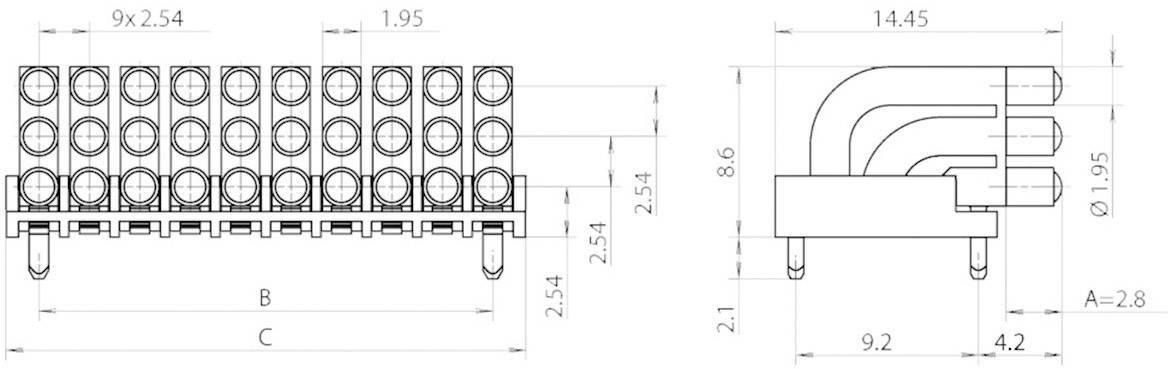 Miniaturní světlovod vícenás., vert. Mentor, 1296.2103 (pro SMD LED 0603)