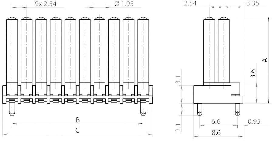 Miniaturní světlovod vícenás., horiz. Mentor, 1296.7212 (pro SMD LED 0603)