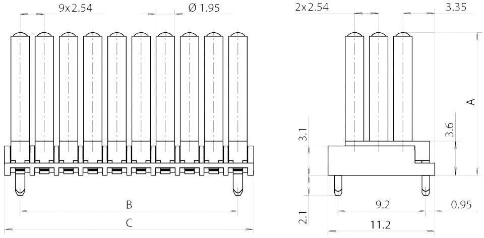 Miniaturní světlovod vícenás., horiz. Mentor, 1296.7153 (pro SMD LED 0603)