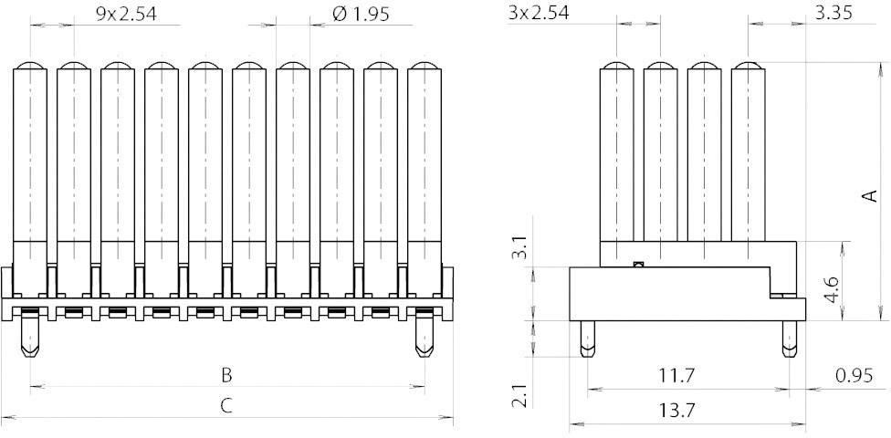 Miniaturní světlovod vícenás., horiz. Mentor, 1296.7124 (pro SMD LED 0603)