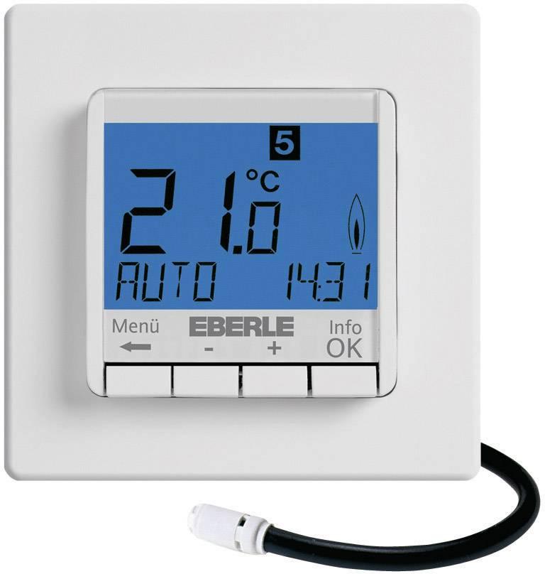 Programovateľný termostat s LCD Eberle FIT-3F, 10 až 40 °C, biely