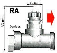 Mosazný adaptér termostatu Danfoss RA Danfoss RA 700 100 005 vhodný pro topné těleso Danfoss RA, 20 nebo 23 mm se 4 vroubky