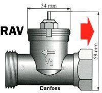 Mosazný adaptér termostatického ventilu Danfoss RAV 700 100 008 vhodný pro topné těleso Danfoss RAV, 34 mm se 4 vroubky