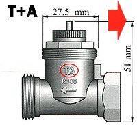 Mosazný adaptér termostatického ventilu TA 700 100 006 vhodný pro topné těleso TA, M28 x 1,5