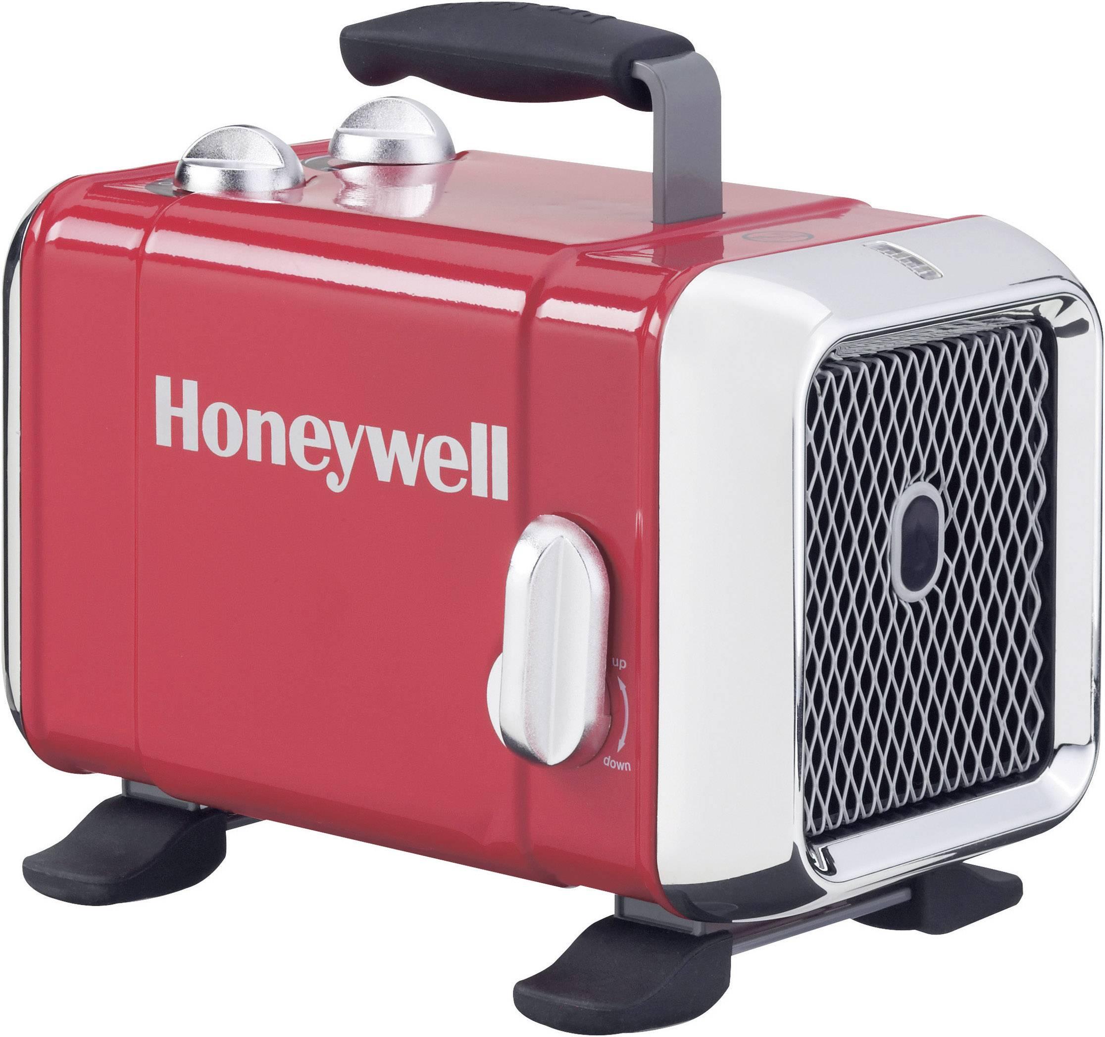 Keramický vykurovací ventilátor Honeywell HZ-510E, 24 m², 1100 W, 1800 W, červená, chróm