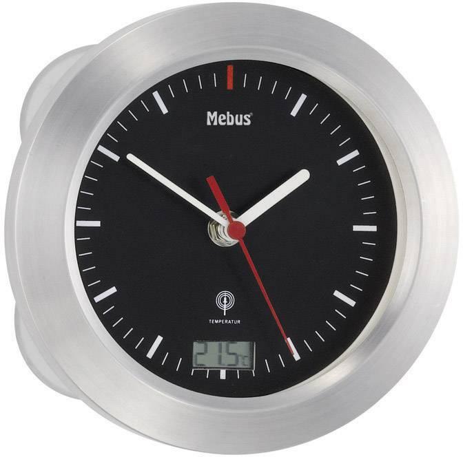 Analógové nástenné DCF hodiny Ø 17 cm, hliník, strieborná/čierna