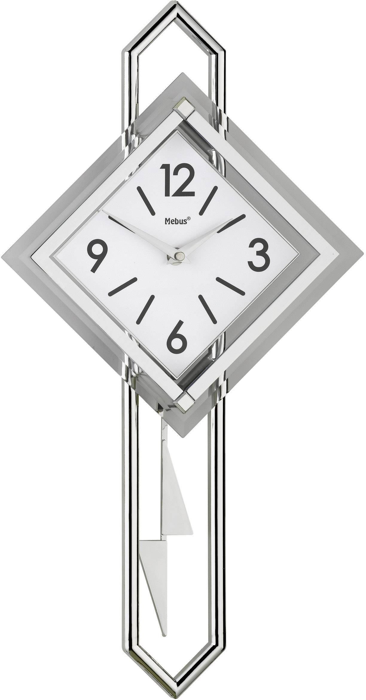 Quartz kyvadlové nástenné hodiny Mebus 665102, sklo, strieborná, biela