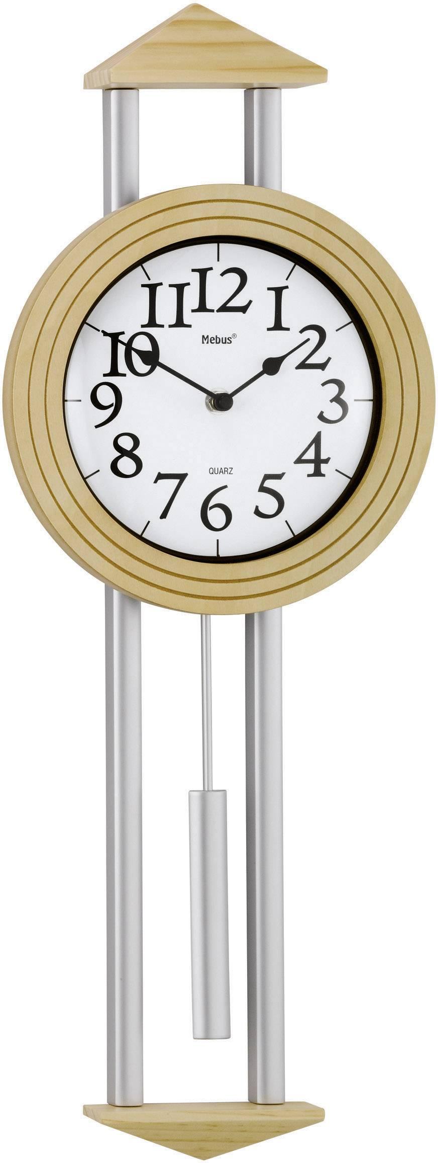 Quartz kyvadlové nástenné hodiny Mebus 665102, strieborná, javorová