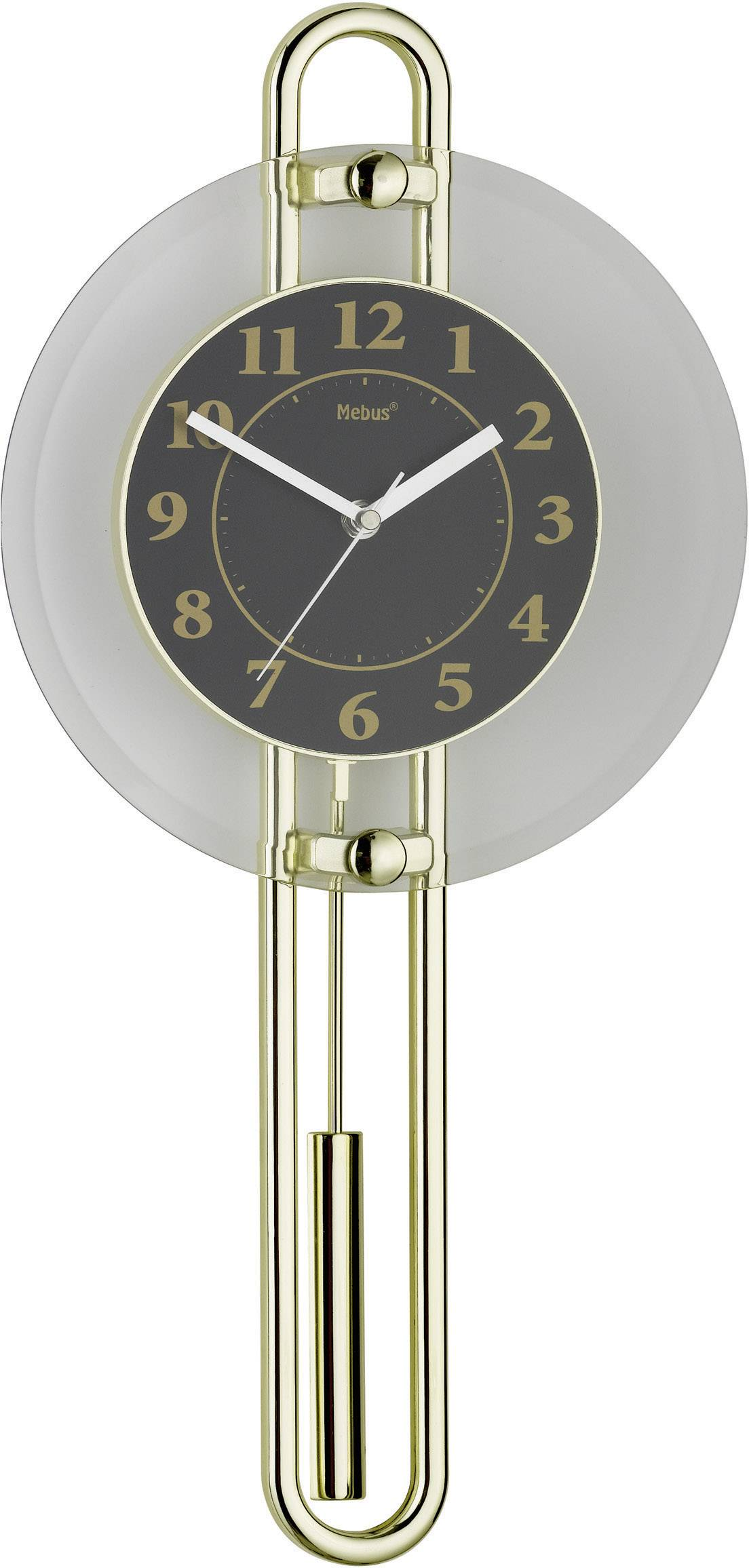 Quartz kyvadlové nástenné hodiny - pendlovky Mebus 14813, zlatá, čierna, strieborná