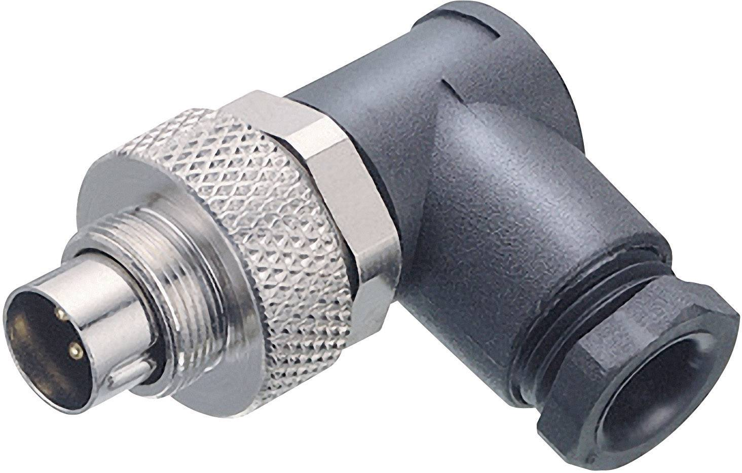 Guľatý konektor submin. Binder 99-0409-70-04, 4-pól., uhlová zástrčka, 3,5 - 5 mm, IP67