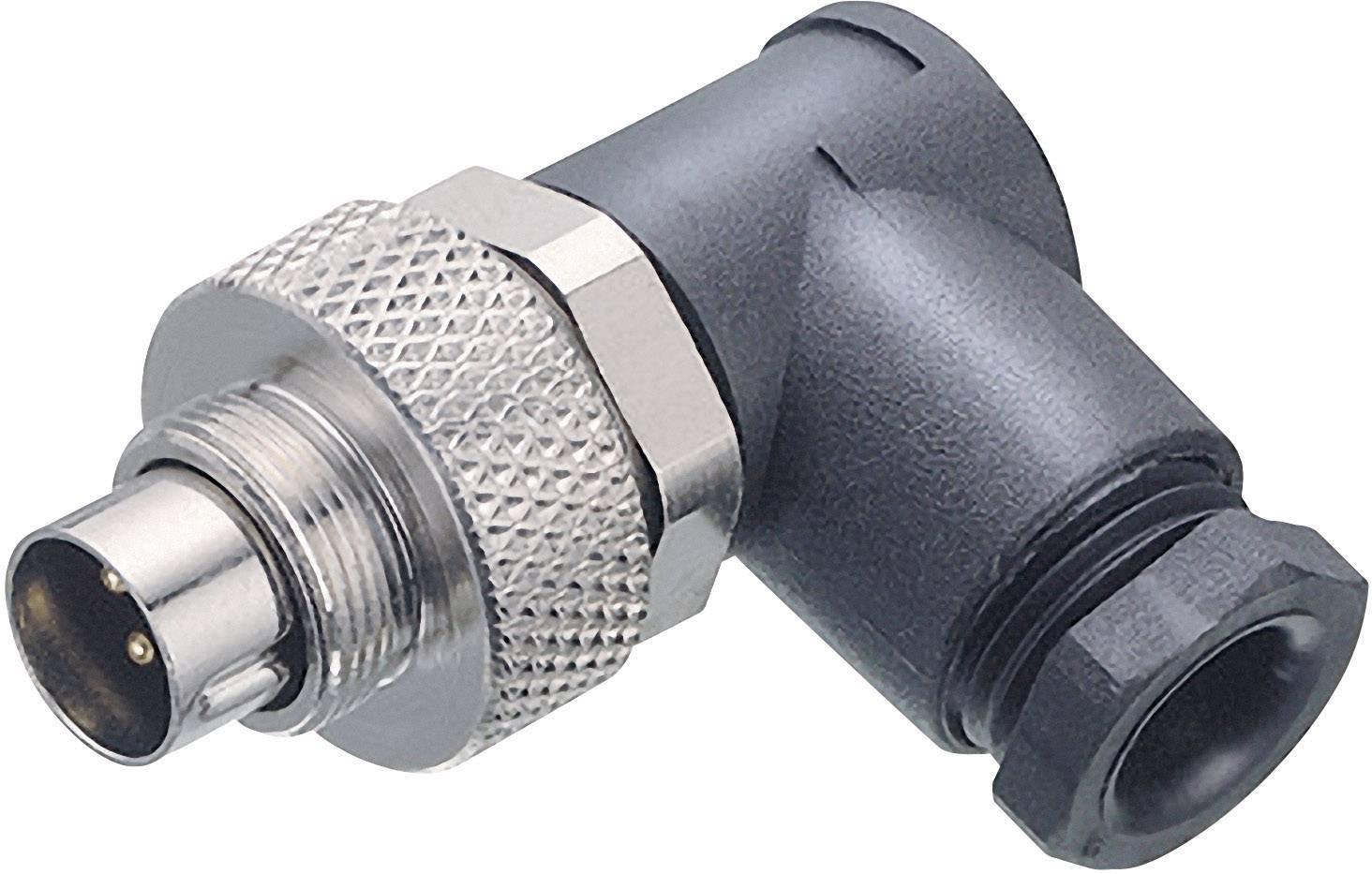 Guľatý konektor submin. Binder 99-0425-70-08, 8-pól., uhlová zástrčka, 3,5 - 5 mm, IP67