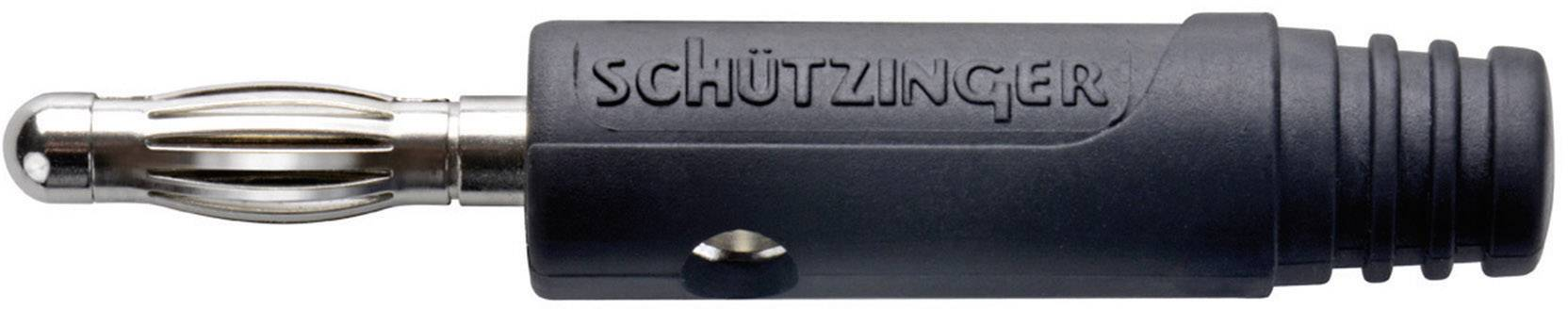 Banánový konektor Schützinger SK 1324/SW – zástrčka, rovná, Ø hrotu: 4 mm, čierna, 1 ks