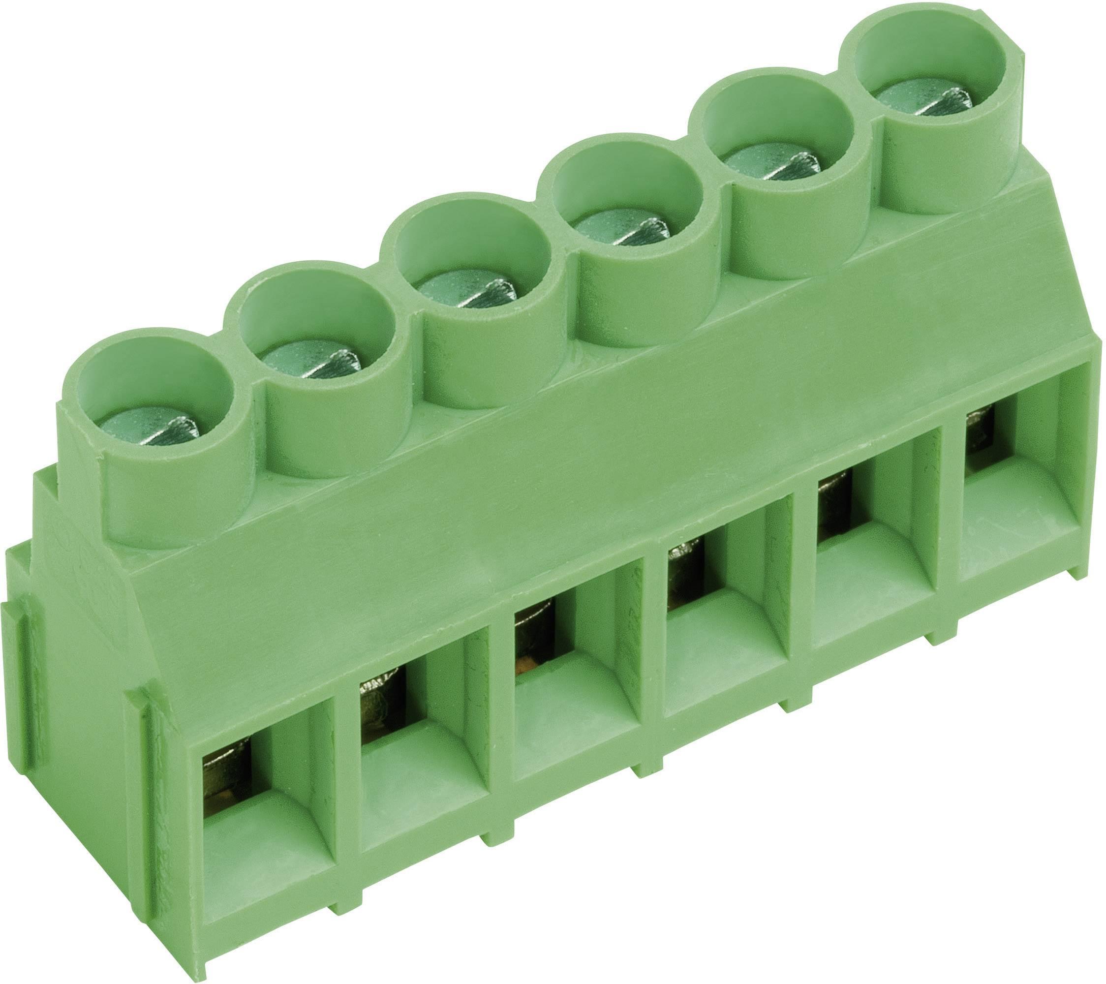 Pájecí šroub. svorka 2nás. AKZ840/2-6.35-V (50840020201D), 6,35 mm, zelená