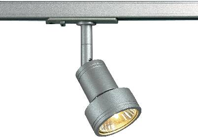 Lištové halogenové svítidlo SLV Puri, 230 V, 50 W, 1fázové, GU10, stříbrná/šedá