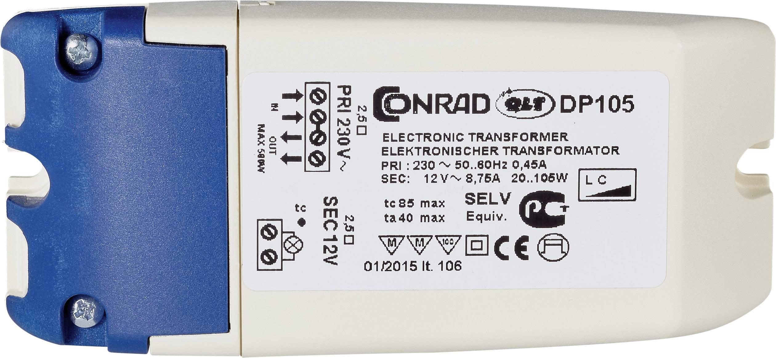 Elektronický transformátor Conrad Maus, DP 105, 20-105 W, 230 V/11,5 V, bílá/modrá