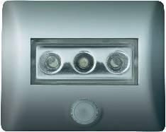 LED nočné svetlo s pohybovým senzorom OSRAM Nightlux, 0.3 W, Farba svetla biela, strieborná