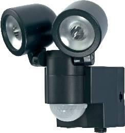 Solárny LED reflektor s PIR čidlom GEV Duo, čierny
