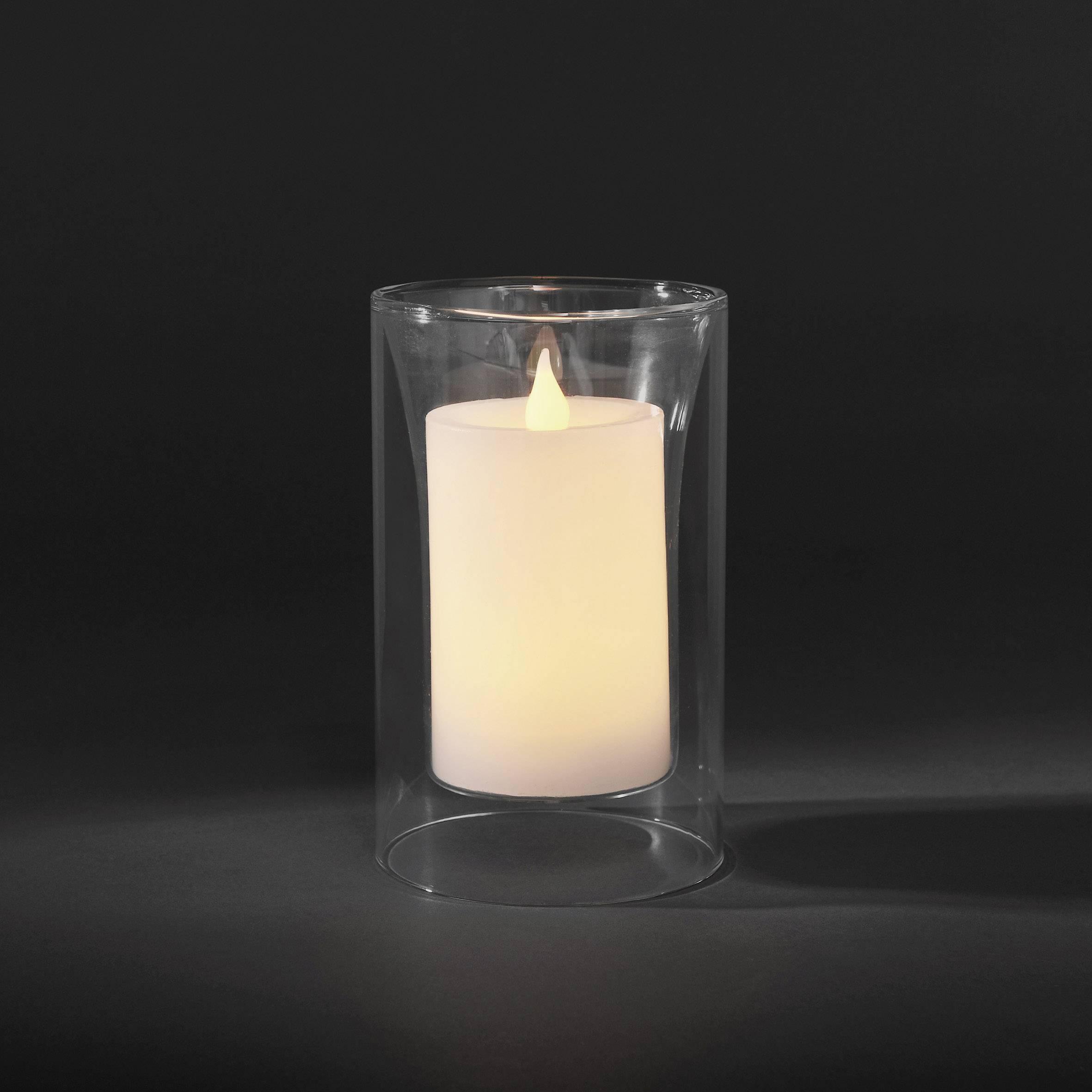 Dekorativní LED svíčka Konstsmide, 11 x 19 cm, bílá