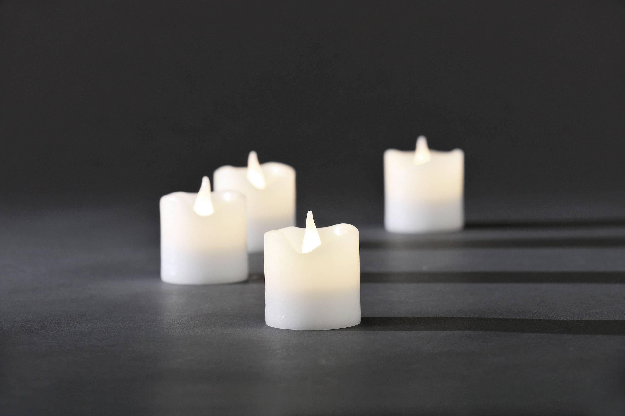 Svietiace sviečky Konstsmide, 4,2 x 4,5 cm, sada 4 ks
