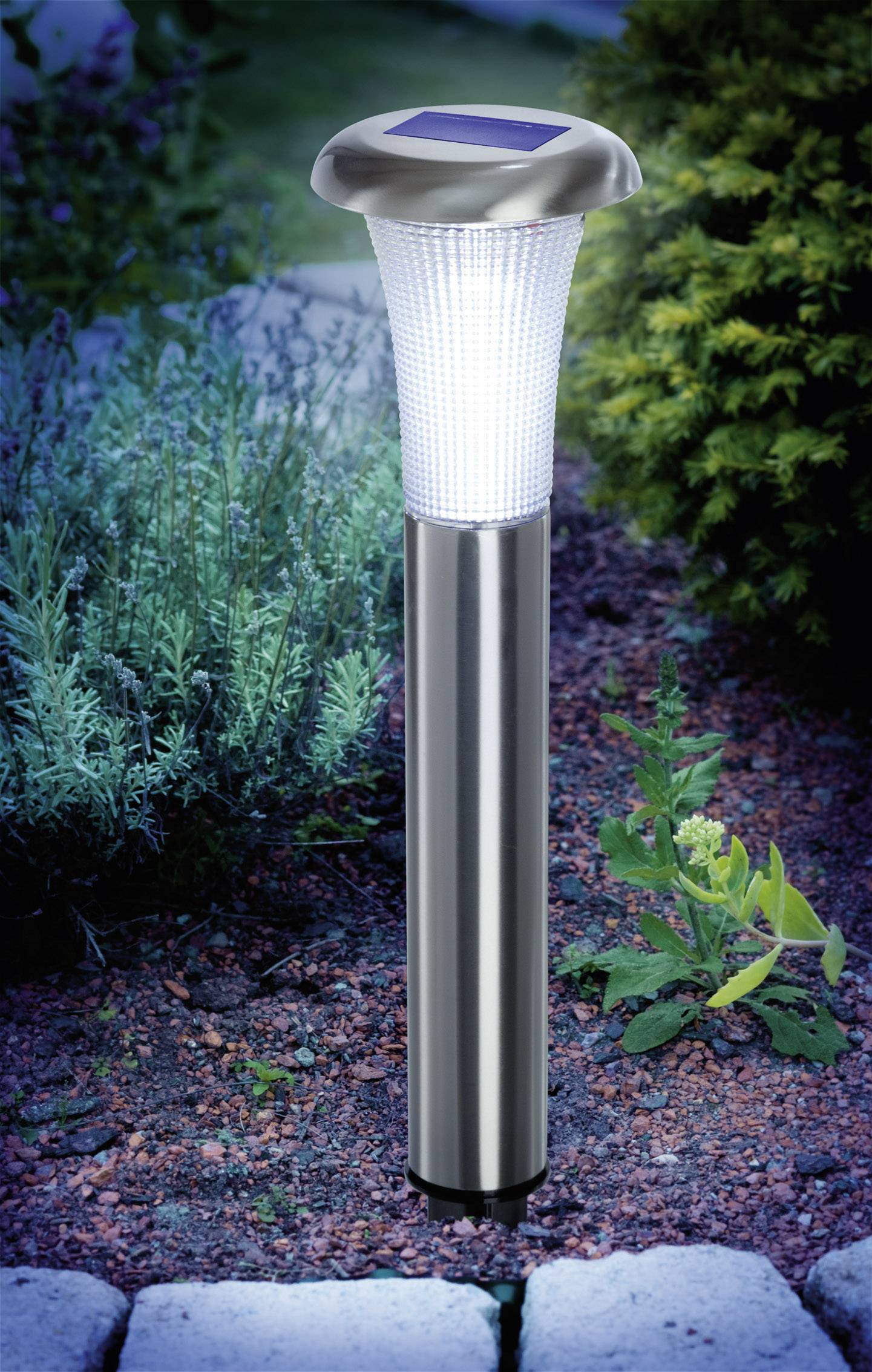 Solárne tyčové svietidlo LED Esotec Vezuv, 1x 1.2 V, IP44, nerez