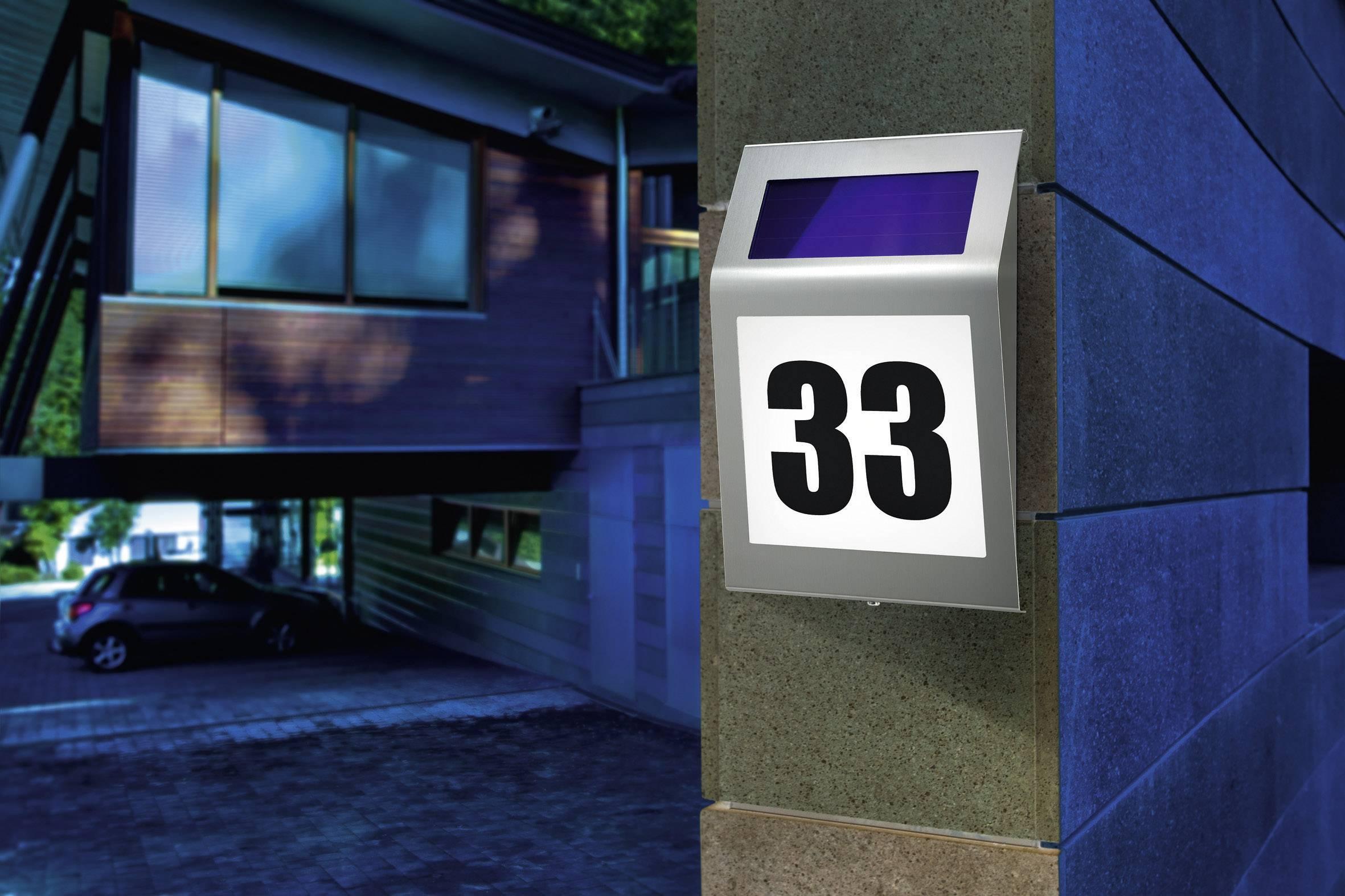 Solárne nerezové LED osvetlenie domového čísla Esotec Style