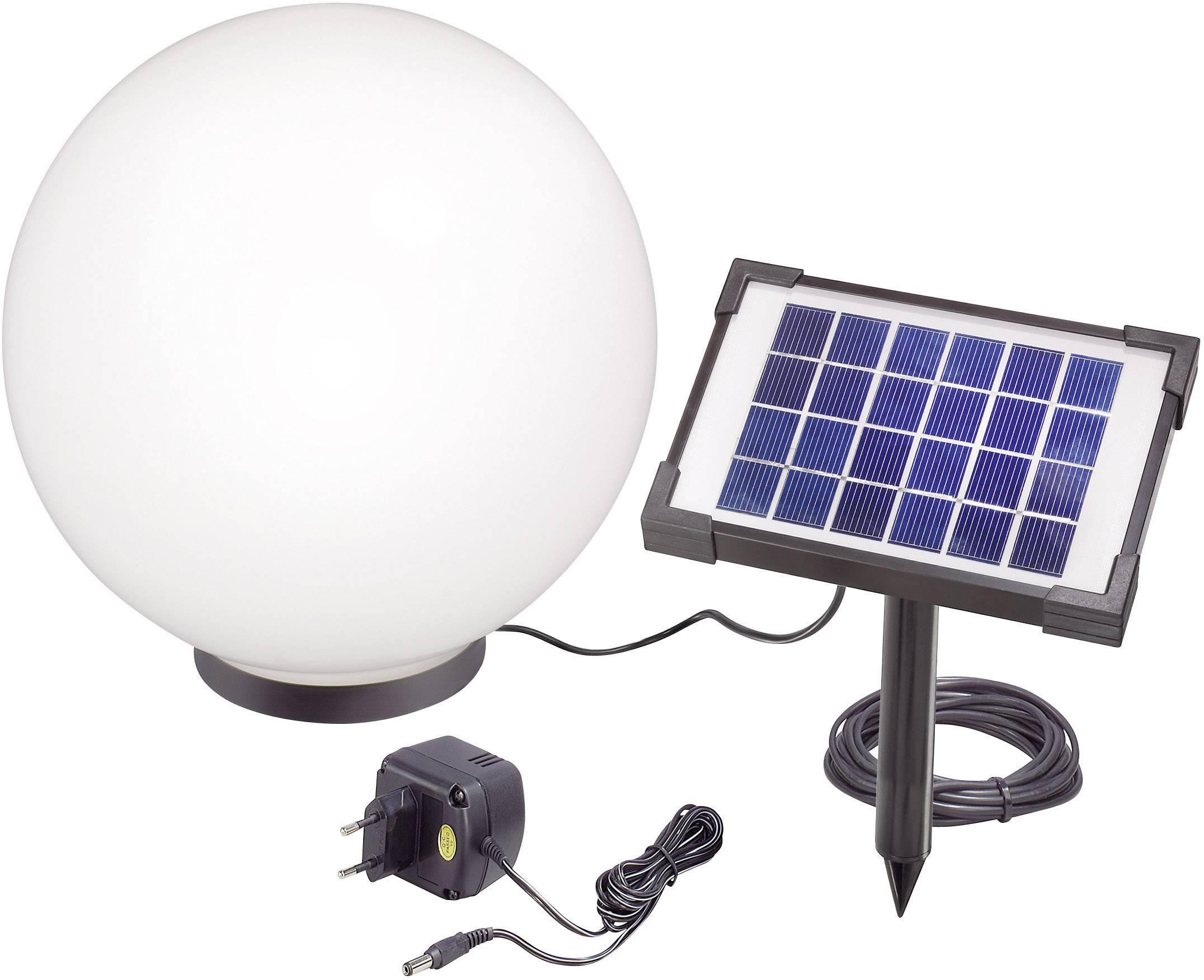 LED solárna guľa Esotec Mega 30 106036, Ø 30 cm, čierna, biela, RGB