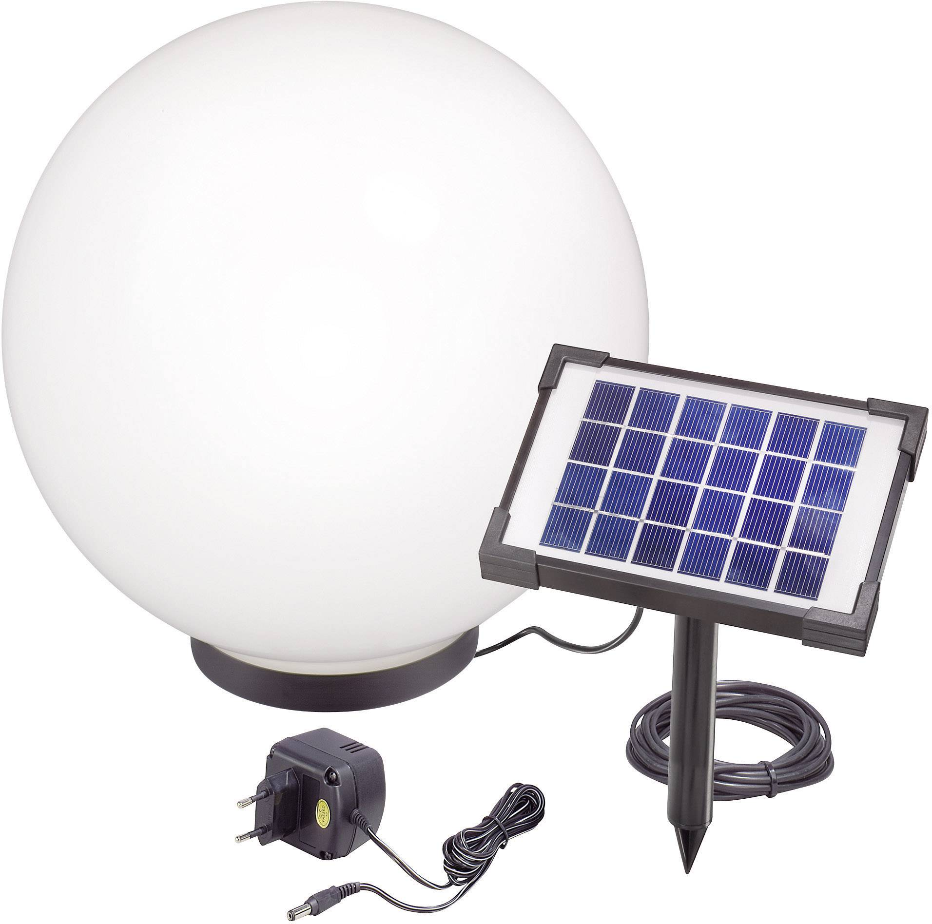 LED solárna guľa Esotec Mega 40 106038, vonkajší Ø 40 cm, čierna, biela, RGB