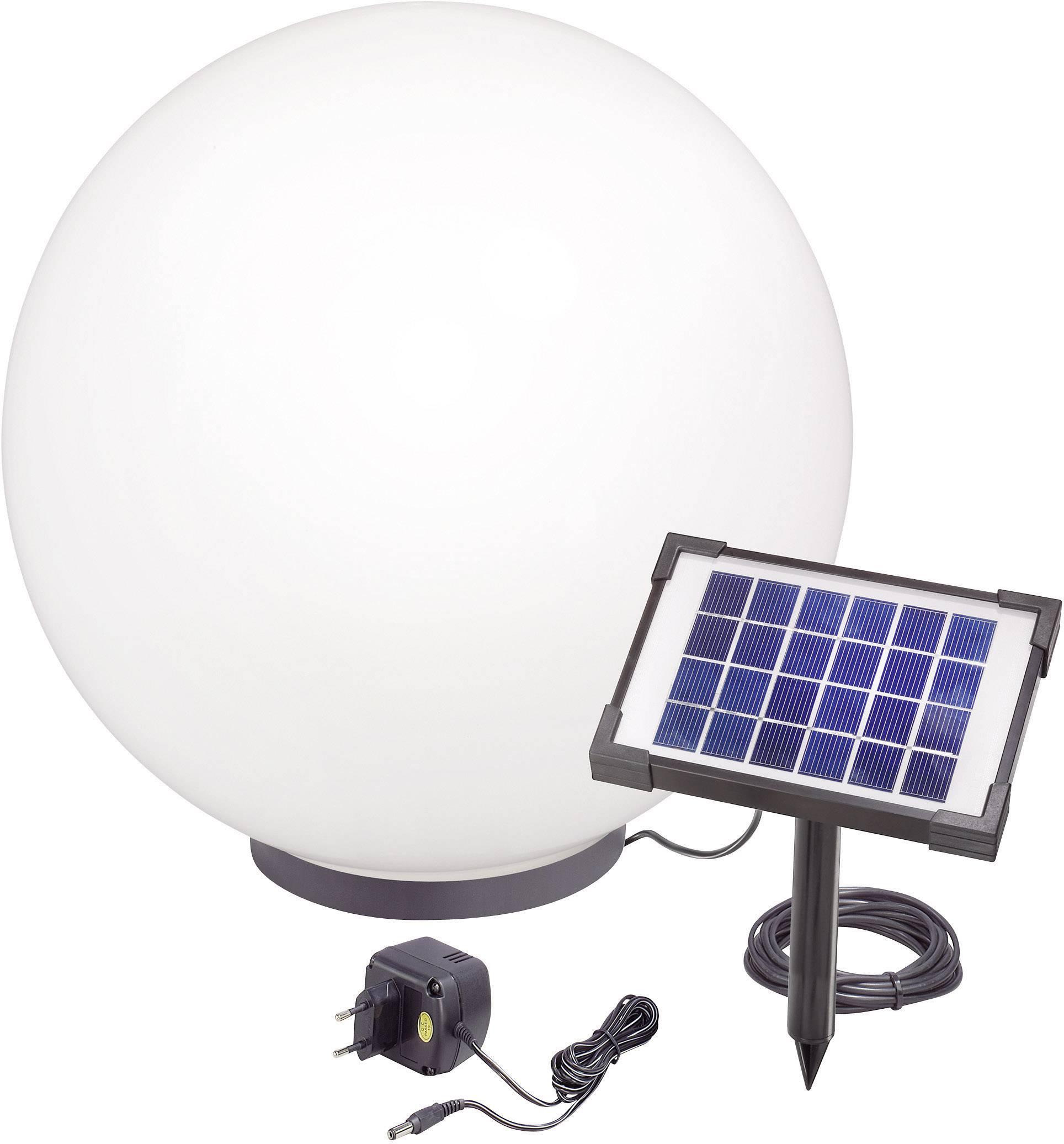 LED solárna guľa Esotec Mega 50 106040, vonkajší Ø 50 cm, čierna, biela, RGB