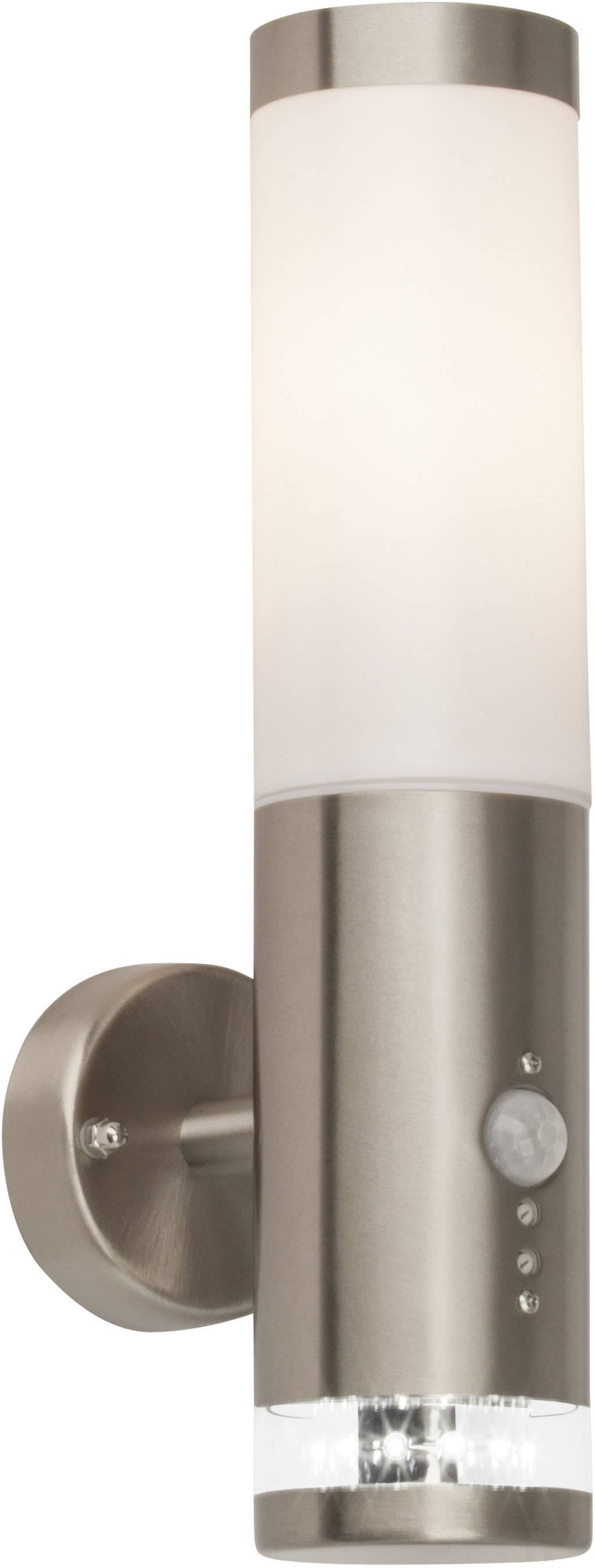 Vonkajšie nástennéosvetleniesPIR senzorom Brilliant Bole G96131/82, E27, 60 W, kov, umelá hmota, nerezová oceľ